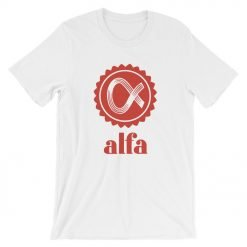 Alfa Front Wrinkled White Bella+Canvas 3001 Unisex T-Shirt