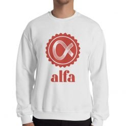 Alfa Gildan 18000 Unisex Heavy Blend Crewneck Sweatshirt Front Man White