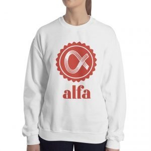 Alfa Gildan 18000 Unisex Heavy Blend Crewneck Sweatshirt Front Woman White
