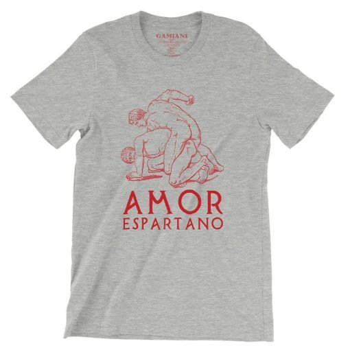 Amor Espartano Bella+Canvas 3001 Unisex T-Shirt Front Wrinckled Red on Atheltic Heather
