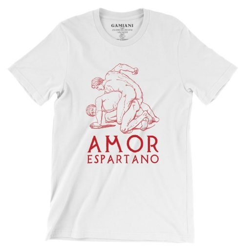 Amor Espartano Bella+Canvas 3001 Unisex T-Shirt Front Wrinckled Red on White