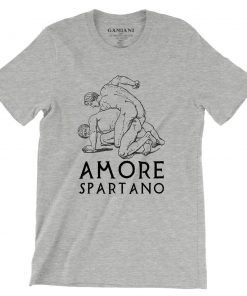 Amore Spartano Bella+Canvas 3001 Unisex T-Shirt Front Wrinckled Black on Atheltic Heather