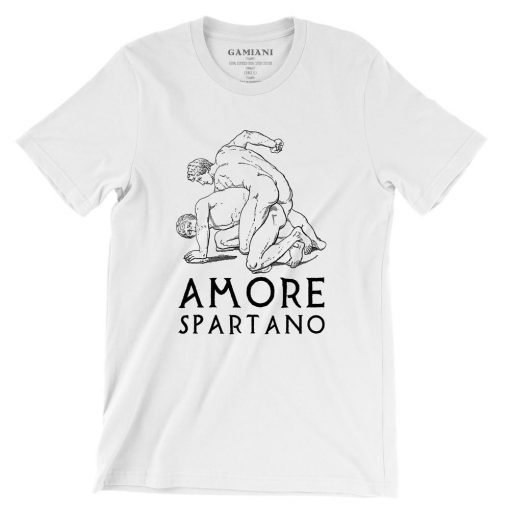 Amore Spartano Bella+Canvas 3001 Unisex T-Shirt Front Wrinckled Black on White