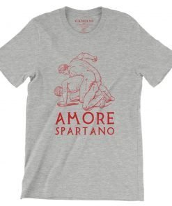 Amore Spartano Bella+Canvas 3001 Unisex T-Shirt Front Wrinckled Red on Atheltic Heather