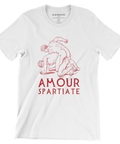 Amour Spartiate  Bella+Canvas 3001 Unisex T-Shirt Front Wrinckled Red on White