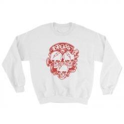 Bros 18000 Heavy Blend Crewneck Sweatshirt White Front Flat