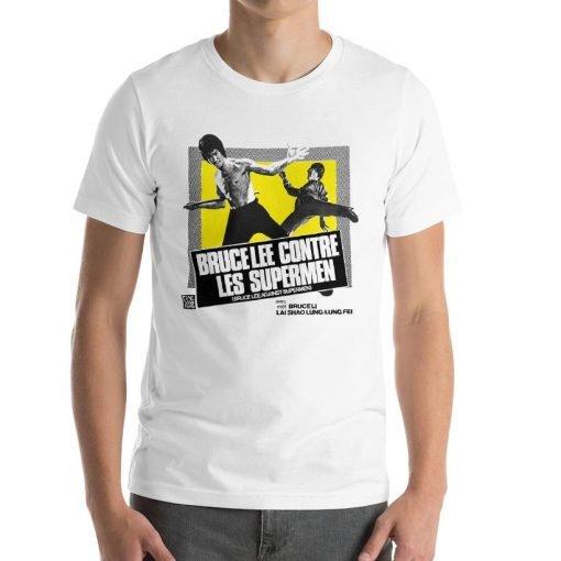 Bruce Lee against Supermen Bella+Canvas 3001 Unisex Short Sleeve Jersey T-Shirt Front Mens White