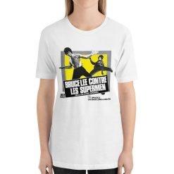 Bruce Lee against Supermen Bella+Canvas 3001 Unisex T-Shirt Front Womens White