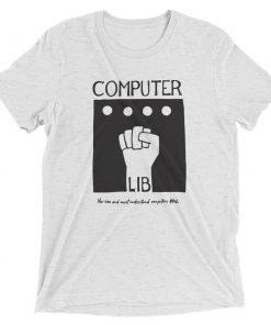 Computer Lib Dark Grey Bella+Canvas 4313 Front Flat White Fleck Triblend