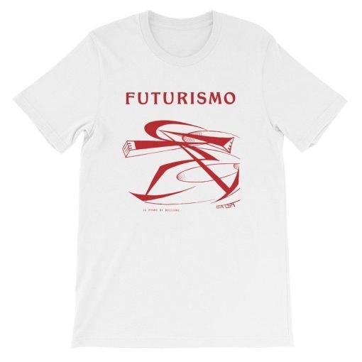 Futurismo Il Pugno di Boccioni Bella+Canvas 3001 Unisex T-Shirt Front Flat White