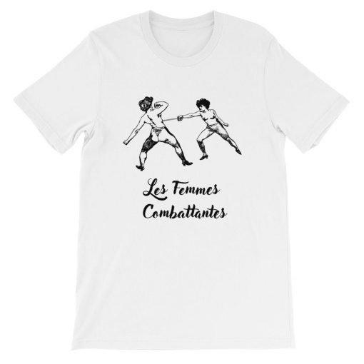 Les Femmes Combattentes Front Flat White Bella+Canvas 3001 White Unisex T-Shirt