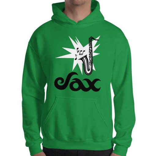 Sax Gildan 18500 Heavy Blend Hooded Sweatshirt Front Mens Irish Green