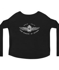 Space Units Bella Canvas Long Sleeve Tee Woman Front Flat Black