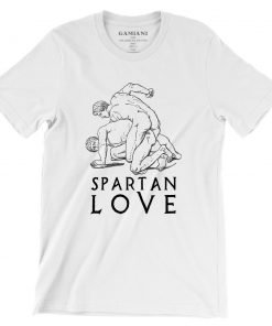 Spartan Love Bella+Canvas 3001 Unisex T-Shirt Front Wrinckled Blak on White