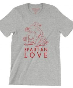 Spartan Love Bella+Canvas 3001 Unisex T-Shirt Front Wrinckled Red on Athletic Heather