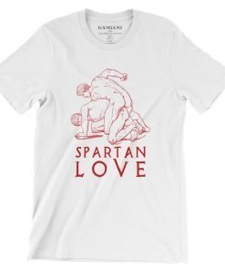 Spartan Love Bella+Canvas 3001 Unisex T-Shirt Front Wrinckled Red on White