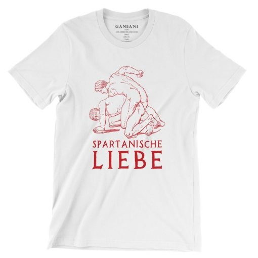 Spartanische Liebe Bella+Canvas 3001 Unisex T-Shirt Front Wrinckled Red on White