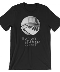 The fine art of Voltage Control Bella+Canvas 3001 Unisex T-Shirt Front Wrinkled Black
