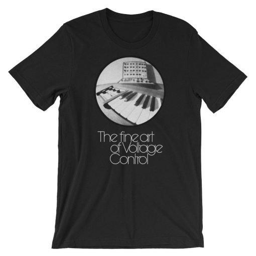 The fine art of Voltage Control Bella+Canvas 3001 Unisex T-Shirt Front Wrinkled Black