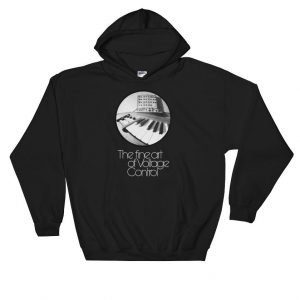 The fine art of Voltage Control Gildan 18500 Heavy Blend Hooded Sweatshirt Front Flat Black