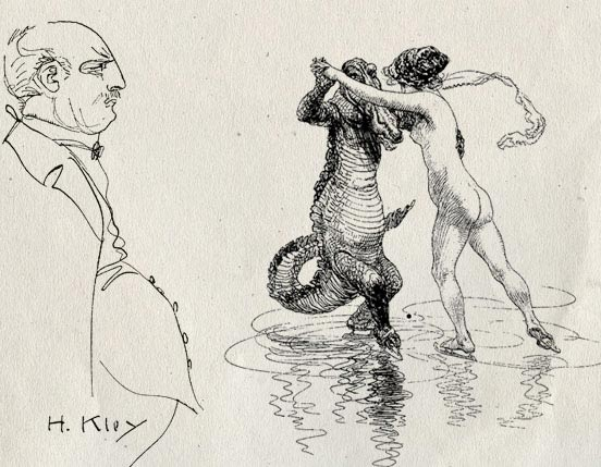 "Self-portrait of Heinrich Kley next to his ""Waltz on ice"". An allusion to the myth of the myth of the Edenic relationship of humans with animals when none of them ate meat?"