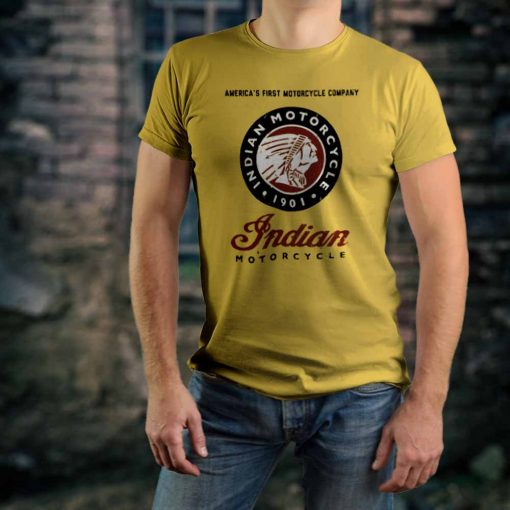 Photo of a muscular guy wearing an Indian Motorcycle t-shirt made by Gamiani.com.