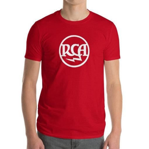 "Photo of a male model wearing an ""RCA Radiotron Logo"" T-Shirt made by Gamiani."