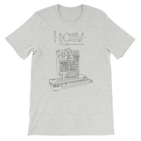 An athletic heather short sleeve t-shirt showing off a Moog System 15 modular synth.