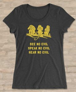 Three wise monkeys BellaCanvas 8413 Triblend T-Shirt Front Flat Charcoal Black Triblend