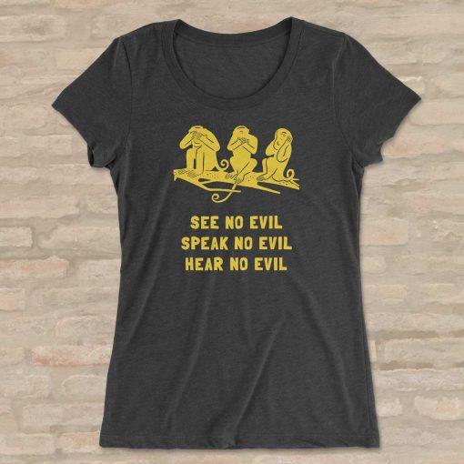 Three wise monkeys BellaCanvas 8413 Triblend T-Shirt Front Flat Charcoal Black Triblend