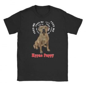 "Photograph of the ""Hypno Puppy"" t-shirt by Gamiani.com. The decoration depicts a Labrador Retriever dog hypnotizing its human owner in order to induce him/her to feed it."