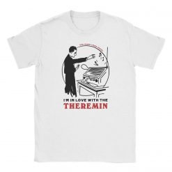"""Photograph of the Theremin's 100th Anniversary """"I'm In Love Withe The Theremin"""" t-shirt by Gamiani.com. The decoration of the shirt depicts Leon Theremin playing his instrument and a declaration of love for the theremin."""