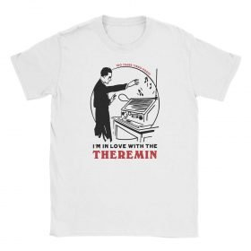 "Photograph of the Theremin's 100th Anniversary ""I'm In Love Withe The Theremin"" t-shirt by Gamiani.com. The decoration of the shirt depicts Leon Theremin playing his instrument and a declaration of love for the theremin."