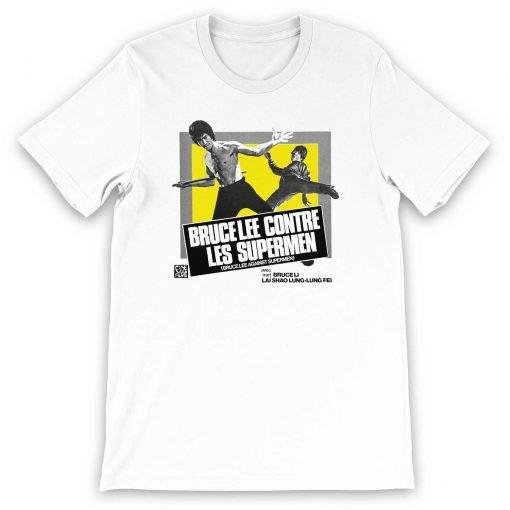 Bruce Lee against Supermen Bella+Canvas 3001 Unisex Short Sleeve Jersey T-Shirt Front Flat White